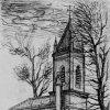 Drahovice - kaple   obecní kaple v Drahovicích na perokresbě H. Grumbacha z roku 1928