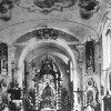 Skoky - kostel Navštívení Panny Marie | interiér poutního kostela Navštívení Panny Marie kolem roku 1965