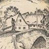 Doupov - socha sv. Jana Nepomuckého | most se sochou na historické kresbě