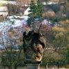 Stráž nad Ohří - sousoší Nejsvětější Trojice   sousoší na původním stanovišti u okresní silnice na Ostrov v roce 2004