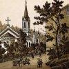 Karlovy Vary - evangelický kostel sv. Petra a Pavla | evangelický kostel na polygrafii z doby kolem roku 1900