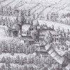 Ostrov - kaple sv. Anny | pohřební kaple sv. Anny č. 18 v areálu piaristického kláštera na výřezu z veduty města Ostrova od Johanna Michaela Sockha z roku 1716