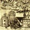 Ostrov - kaple sv. Anny | pohřební kaple sv. Anny za klášterním kostelem Zvěstování Panně Marii na výřezu z rytiny od Eliase Dollhopfa a Martina A. Mansfelta z poloviny 18. století