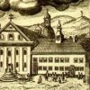 Ostrov - piaristický klášter | klášterl na rytině podle Eliase Dollhopfa kolem roku 1750