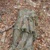 Svatobor - socha sv. Jana Nepomuckého   torzo vrcholové plastiky světce v roce 2003