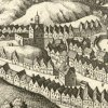 Karlovy Vary - hrad (Zámecká věž) | pozůstatky hradu s obnovenou věží na výřezu z historické rytiny Matthaeuse Meriana z doby před rokem 1650