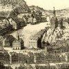 Karlovy Vary - hrad (Zámecká věž) | městská hláska, tzv. Zámecká věž, nad Tržištěm na výřezu z rytiny Johanna Baptisty Homanna z doby před rokem 1724