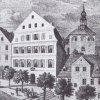 Karlovy Vary - Zámecká kolonáda   původní altán nad pramenem na rytině z počátku 19. století