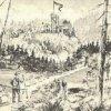 Olšová Vrata - rozhledna na Vítkově hoře | rozhledna na Vítkově hoře na kresbě z roku 1912