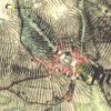 Brložec - železný kříž | železný kříž u Brložce na výřezu mapy 2. vojenského františkovo mapování z roku 1845