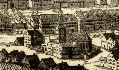 původní kostel sv. Máří Magdalény na výřezu veduty města od Johanna Baptisty Homanna z doby před rokem 1724