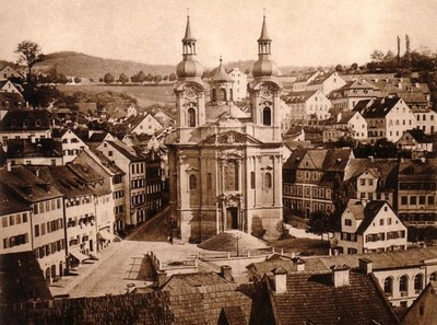 kostel sv. Máří Magdalény na fotografii zdoby kolem roku 1860