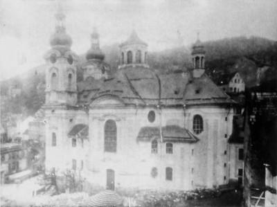 půdorys vrcholně barokního kostela sv. Máří Magdalény na plánu karlovarského Městského stavebního úřadu z roku 1898