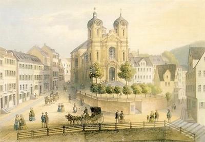 kostel sv. Máří Magdalény na kresbě z doby kolem roku 1850