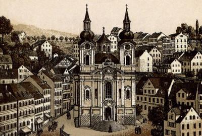 kostel sv. Máří Magdalény na litografii z doby kolem roku 1900