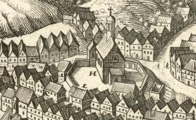 původní gotický kostel sv. Máří Magdalény na výřezu veduty města od Matthäuse Meriana z doby před rokem 1650