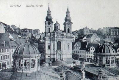 barokní farní kostel sv. Máří Magdalény na historické litografii od Josefa Schäflera z roku 1865